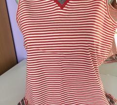 Prugasta crveno-bela majica bez rukava