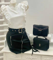 Crna kozna suknja sa etiketom S