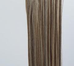 Poluprirodna kanekalon kosa - plavo šatirana