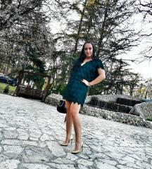 H&M smaragno zelena haljina