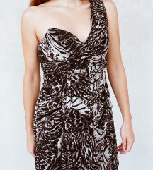 Animal print korset haljina na jedno rame M