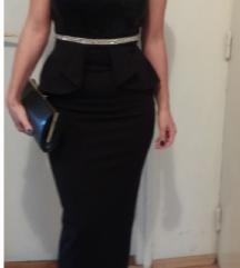 Crna moćna peplum haljina, duga, must have