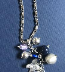 Duga plava ogrlica sa perlicama
