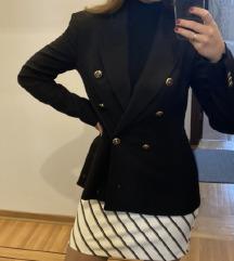 Poslednja cena Nov Zara crni strukirani sako S