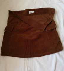 Braon mini somot suknja S
