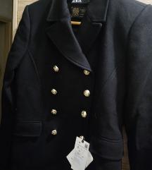 SNIZENO Nov kaput Zara crn vuna S ili 36