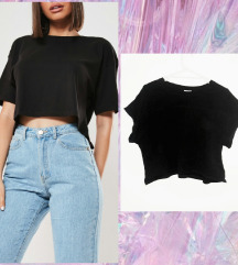 H&M crni crop top XL