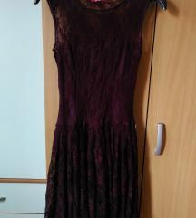 Burgundy čipkana haljina