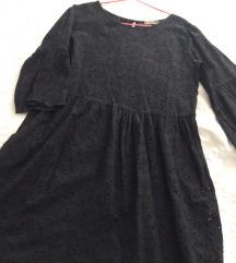 crna haljina sa rupičastim vezom