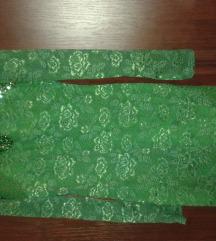 zelena cipkana haljina