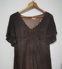 Boho haljina, čokolada braon, vintage