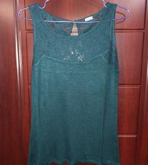 Tamno zelena čipkasta majičica