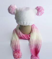 Dečiji komplet - roze - bela kapa i šal
