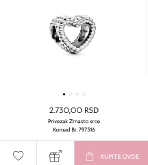 ORIGINAL Pandora privezak srce