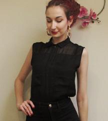 Bershka crna svilena košulja