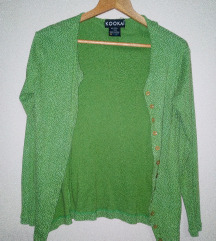 Zelena pamucna bluza sa tufnama na kopcanje