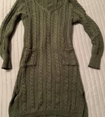 Strikana maslinasto zelena haljina