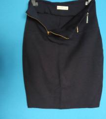 Teget pencil skirt - sa zipsevima napred