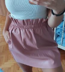 Roze suknja od eko koze