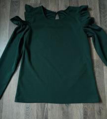 Zelena bluzica otvorenih ramena