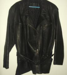 Crna kožna jakna sa 4 džepa