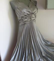 Srebrna plisirana haljina S/M