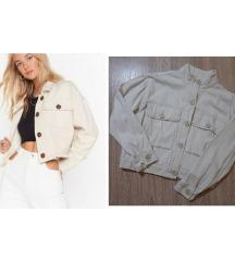 Bež teksas jaknica crop oversize model