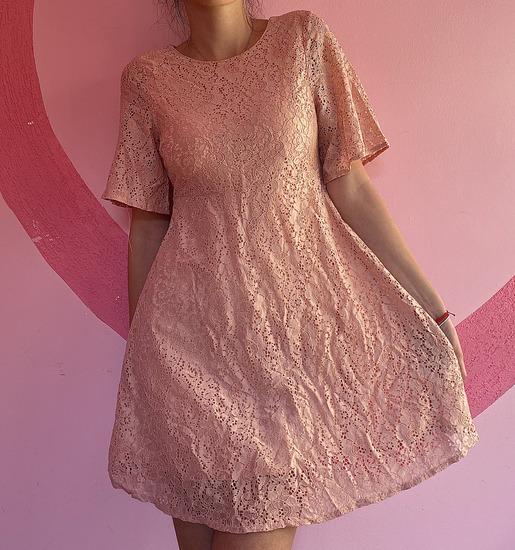 Nova roza cipkana haljina