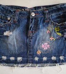 Mini teksas suknja sa aplikacijama, XS, novo