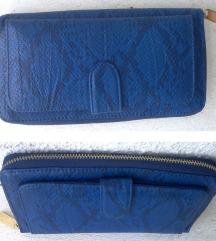 novčanik veći plavi imitacija zmijske kože