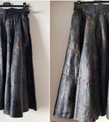 Kožna vintage suknja visok struk