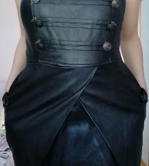 Crna haljinica imitacija kože SNIZENJE