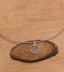 Metalna čoker ogrlica peace sign