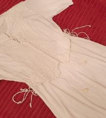 Vintage bela midi haljina