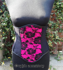 Pink crni underbust korset sa cipkom