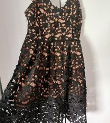 Crna čipkana haljina S
