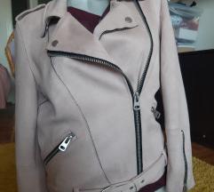 C&A prljavo roze jakna bajkerka L