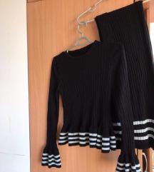 Knit komplet sivo crni