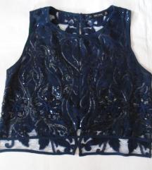 Zara čipkana bluzica sa diskretnim šljokicama
