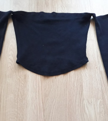 Crni crop top golih ramena-off shoulder SNIŽENO❗