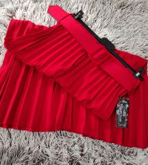Krv crvena plisirana suknja(jesen\zima) NOVA