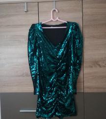Zara Sequin zelena haljina