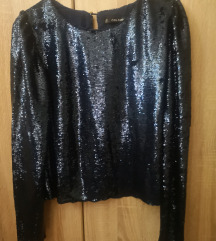 Teget Zara svečana majica sa šljokicama
