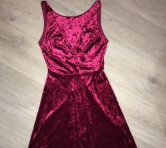 Bordo/plišana haljina