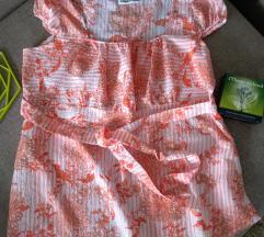 Narandžasta majica na pruge i cvetove