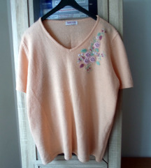 Džemper majica kajsija boje sa vezom XL