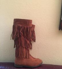 Stefano camel kozne cizme sa resama