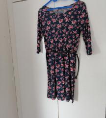 Preslatka haljina sa pojasom u cvetnom dezenu XS