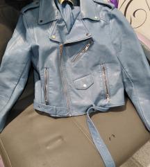 Zara kožna jakna plava M