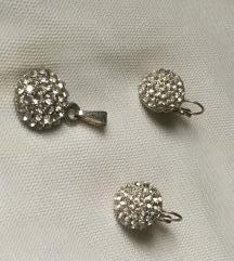 Komplet nakit srebrne boje
